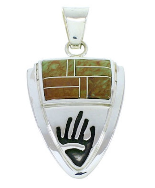 Southwest Hand Turquoise Inlay Sterling Silver Pendant YS73187