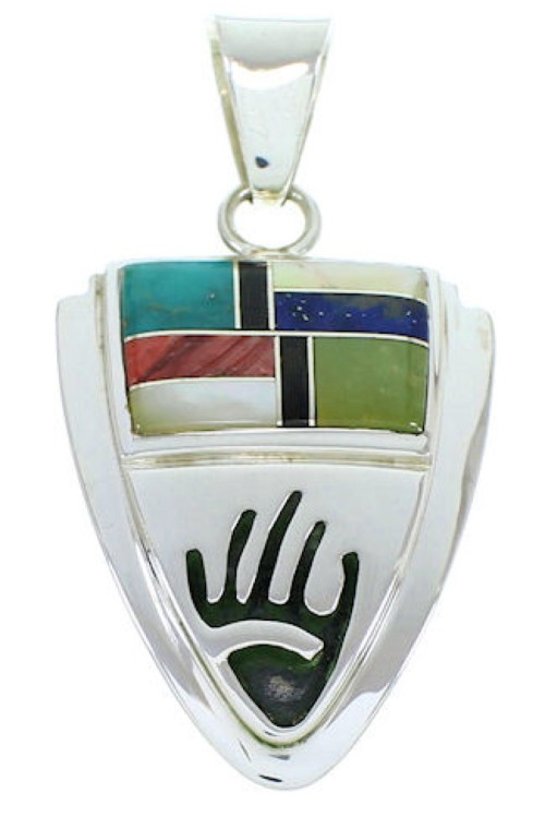 Hand Sterling Silver Multicolor Inlay Southwest Pendant YS73203