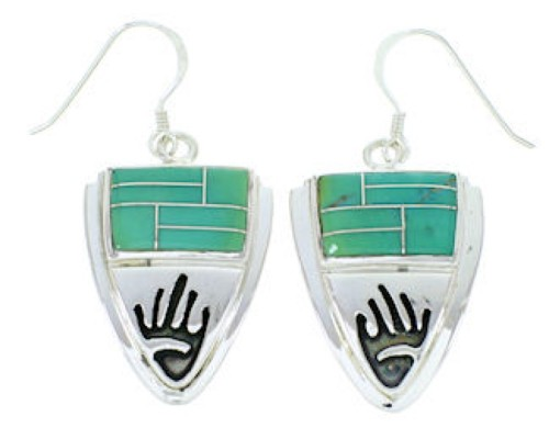 Turquoise Inlay Silver Hand Jewelry Hook Earrings YS73213