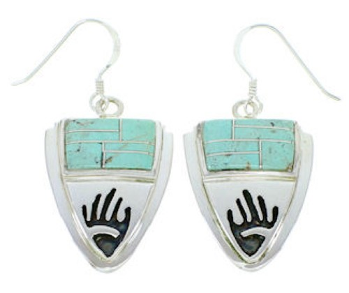 Silver And Turquoise Hand Hook Earrings YS73219