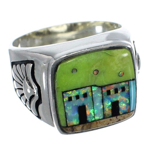 Multicolor Sterling Silver Native American Design Ring Size 12 PX42204