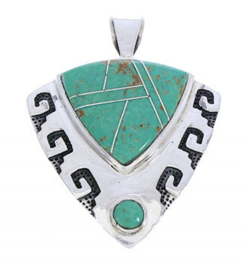 Turquoise Genuine Sterling Silver Jewelry Southwestern Pendant GS75895