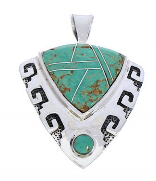 Sterling Silver Jewelry Turquoise Southwestern Pendant GS75899