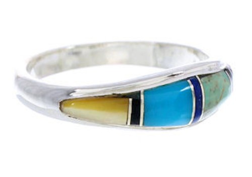Sterling Silver Multicolor Inlay Jewelry Ring Size 5-3/4 MW74167
