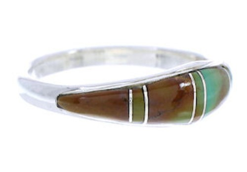 Southwest Jewelry Turquoise Inlay Silver Ring Size 8-3/4 MW74097