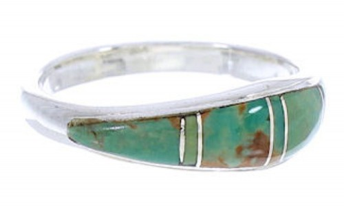 Turquoise Inlay Silver Jewelry Ring Size 4-3/4 MW74144