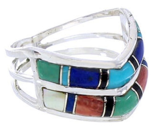 Southwest Multicolor Silver Ring Size 7-1/4 GS73850