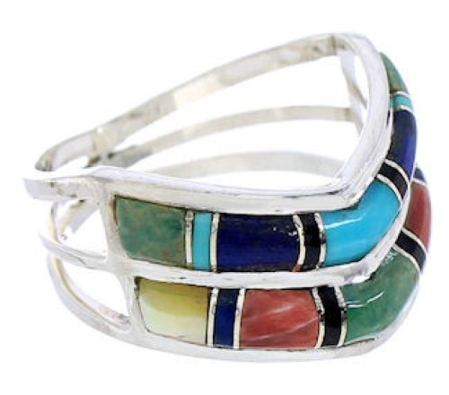 Southwest Jewelry Sterling Silver Multicolor Ring Size 5-3/4 GS73866
