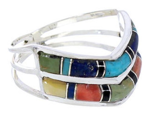 Sterling Silver Southwest Multicolor Ring Size 8-1/4 GS73918