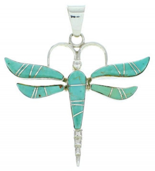 Southwestern Silver And Turquoise Dragonfly Inlay Pendant BW73409