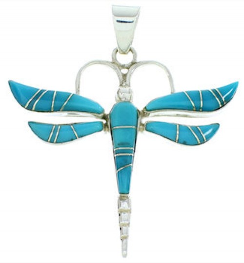 Southwestern Turquoise Dragonfly Sterling Silver Slide Pendant BW73413