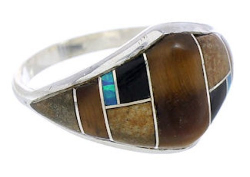 Silver Southwest Multicolor Inlay Ring Size 5-3/4 GS74212
