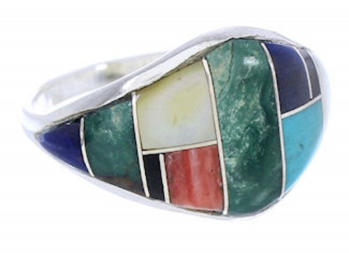 Southwest Sterling Silver Multicolor Ring Size 5 GS74101