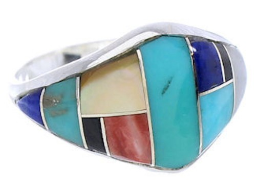 Multicolor Inlay Genuine Sterling Silver Ring Size 7-1/4 GS74109