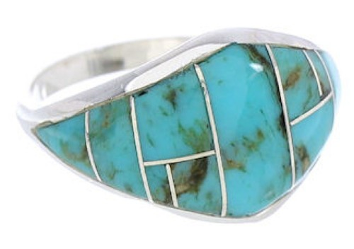 Southwestern Turquoise Silver Ring Size 6-1/4 GS74068