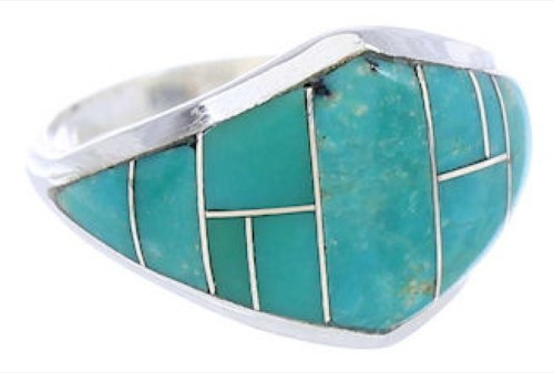 Genuine Silver Turquoise Southwest Inlay Ring Size 8-3/4 GS74139