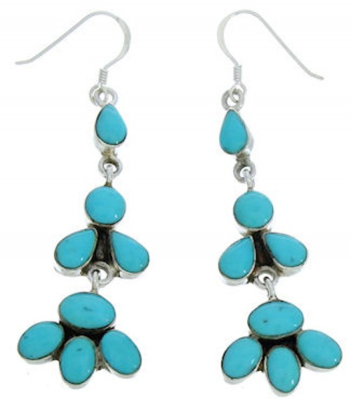 Southwest Silver And Turquoise Hook Dangle Earrings BW73672