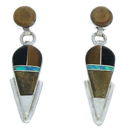 Southwest Jewelry Multicolor Inlay Post Dangle Earrings BW73943