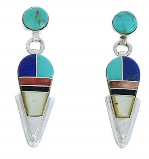 Sterling Silver And Multicolor Inlay Post Dangle Earrings BW73723