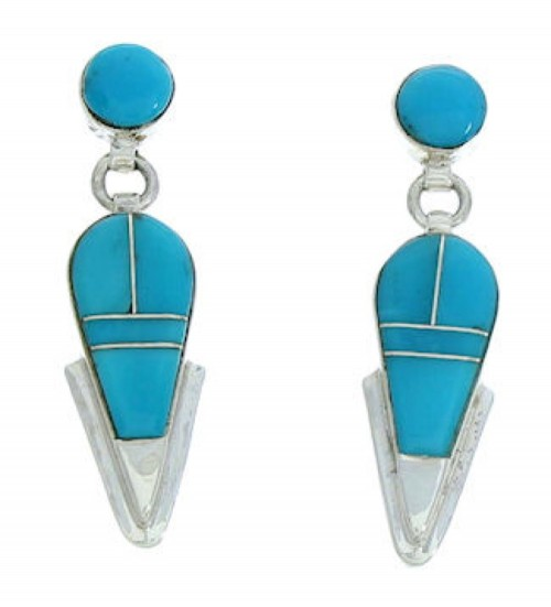 Sterling Silver Jewelry Turquoise Inlay Post Dangle Earrings BW73753