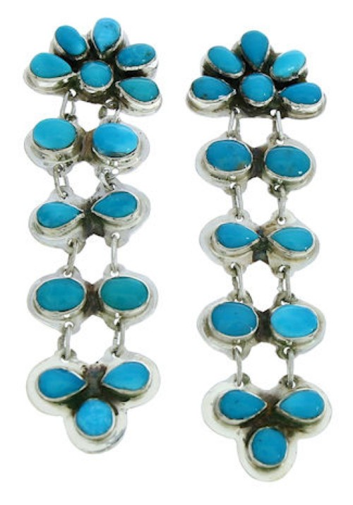 Turquoise And Sterling Silver Post Dangle Earrings BW73893