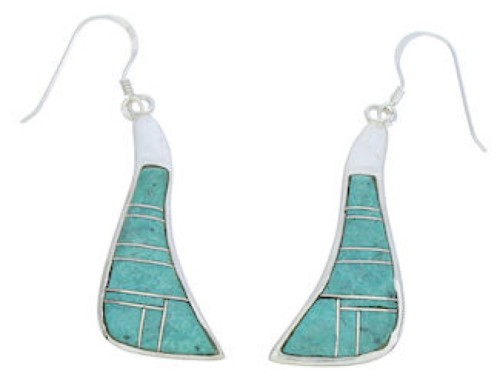 Turquoise Inlay Southwest Silver Hook Earrings MW73376