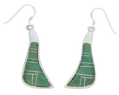 Silver Turquoise Inlay Southwestern Jewelry Hook Earrings MW73382