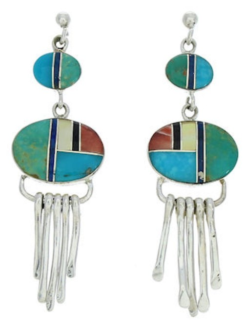 Multicolor Inlay Jewelry Sterling Silver Post Dangle Earrings MW73327