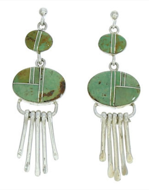 Turquoise Sterling Silver Jewelry Post Dangle Earrings MW73337