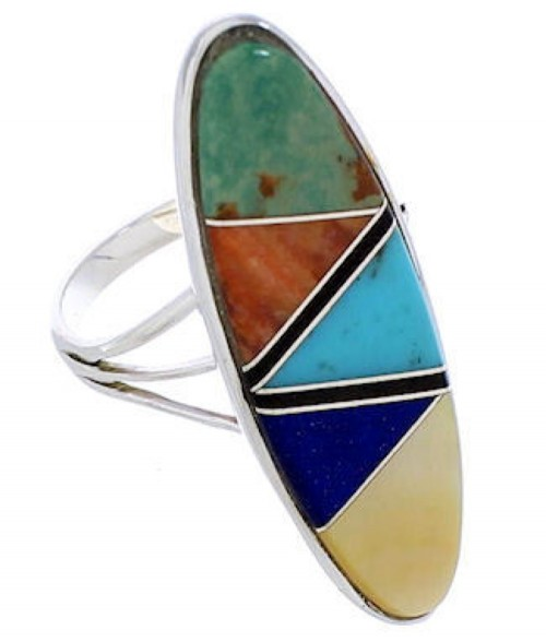 Southwest Multicolor Silver Ring Size 5-1/2 YX33797