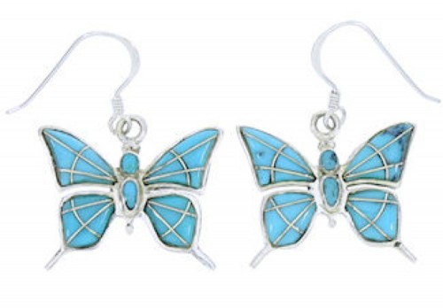 Sterling Silver Turquoise Inlay Butterfly Hook Dangle Earrings BW74504