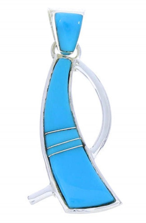 Turquoise Inlay Southwestern Sterling Silver Pendant BW74524