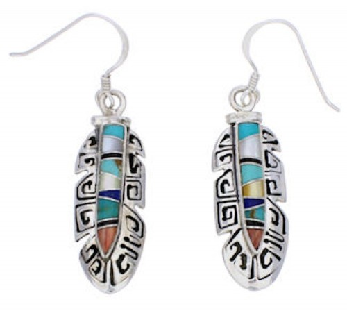 Sterling Silver Feather Multicolor Inlay Earrings GS74612