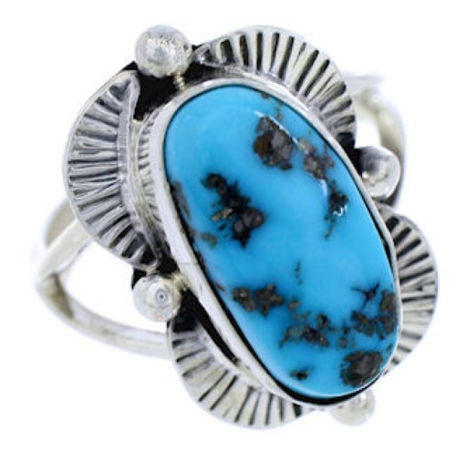 Navajo Indian Sterling Silver Turquoise Ring Size 7-3/4 AW75284