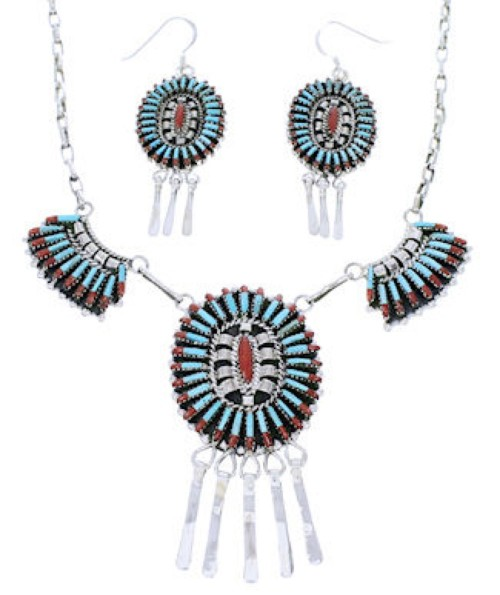 Turquoise Coral Link Necklace Earrings Set GS74740