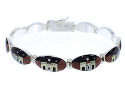 Multicolor Native American Village Design Link Bracelet GS74744