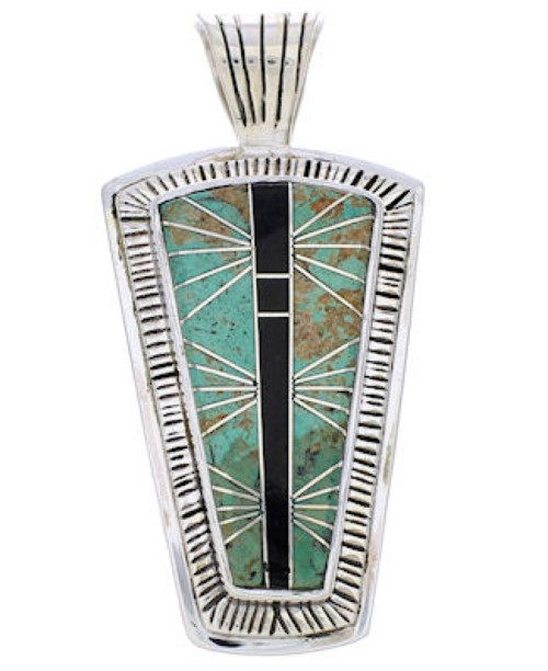 Jet Turquoise Jewelry Southwest Silver Pendant MW75143