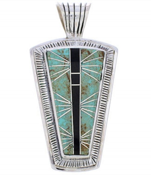 Jet Turquoise Inlay Jewelry Silver Pendant MW75147