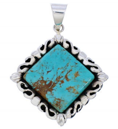 Turquoise Jewelry Sterling Silver Southwest Pendant GS75172