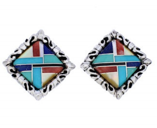 Multicolor And Sterling Silver Post Earrings GS75041