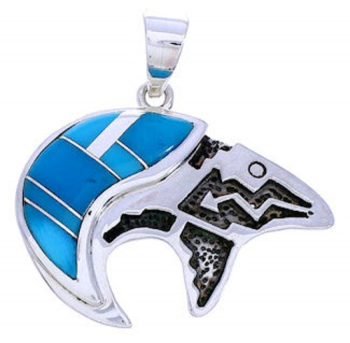 Turquoise Inlay Silver Bear Arrow Slide Pendant MW74930