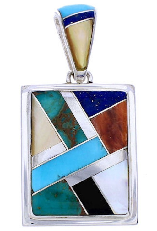 Southwestern Multicolor Sterling Silver Reversible Pendant MW74993