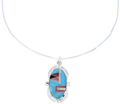 "Multicolor Sterling Silver 16"" Chain Necklace Pendant Set PX37763"