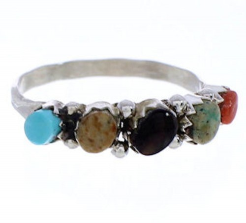 Native American Sterling Silver Multicolor Ring Size 8-1/2 BW75602