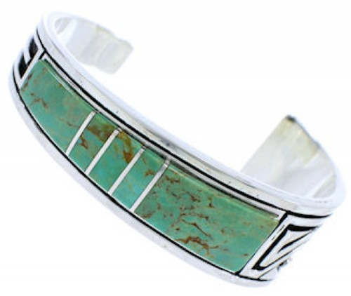Turquoise Inlay Feather Jewelry Sterling Silver Cuff Bracelet MX27312