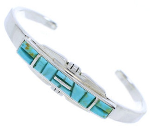Genuine Sterling Silver And Turquoise Cuff Bracelet EX27745