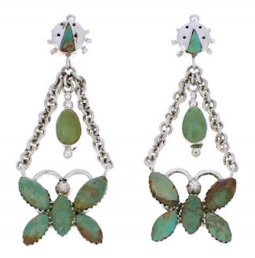 Southwest Butterfly Ladybug Turquoise Sterling Silver Earrings MW76070