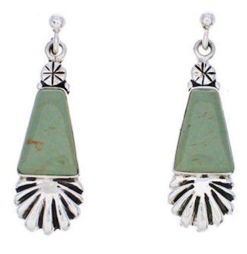 Turquoise Southwest Silver Post Dangle Earrings MW76004