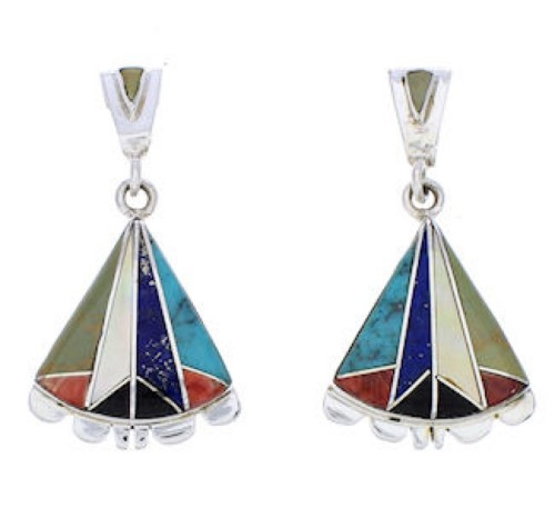 Southwest Multicolor Inlay Sterling Silver Post Earrings MW75798
