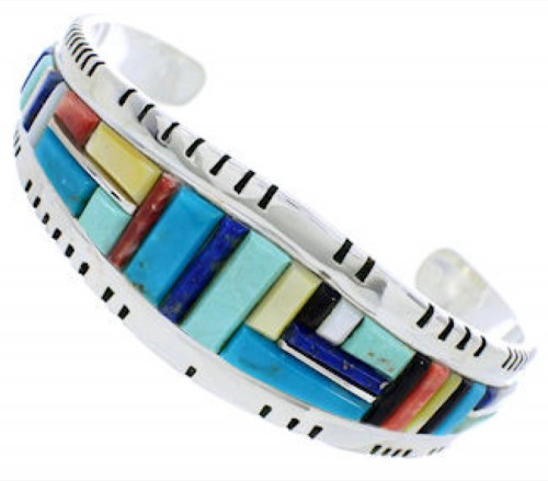 Sterling Silver Southwest Multicolor Inlay Cuff Bracelet EX27362
